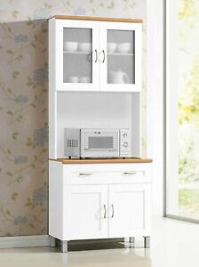 Exceptional Image Is Loading White Tall Microwave Cabinet Stand Hutch Pantry Cart