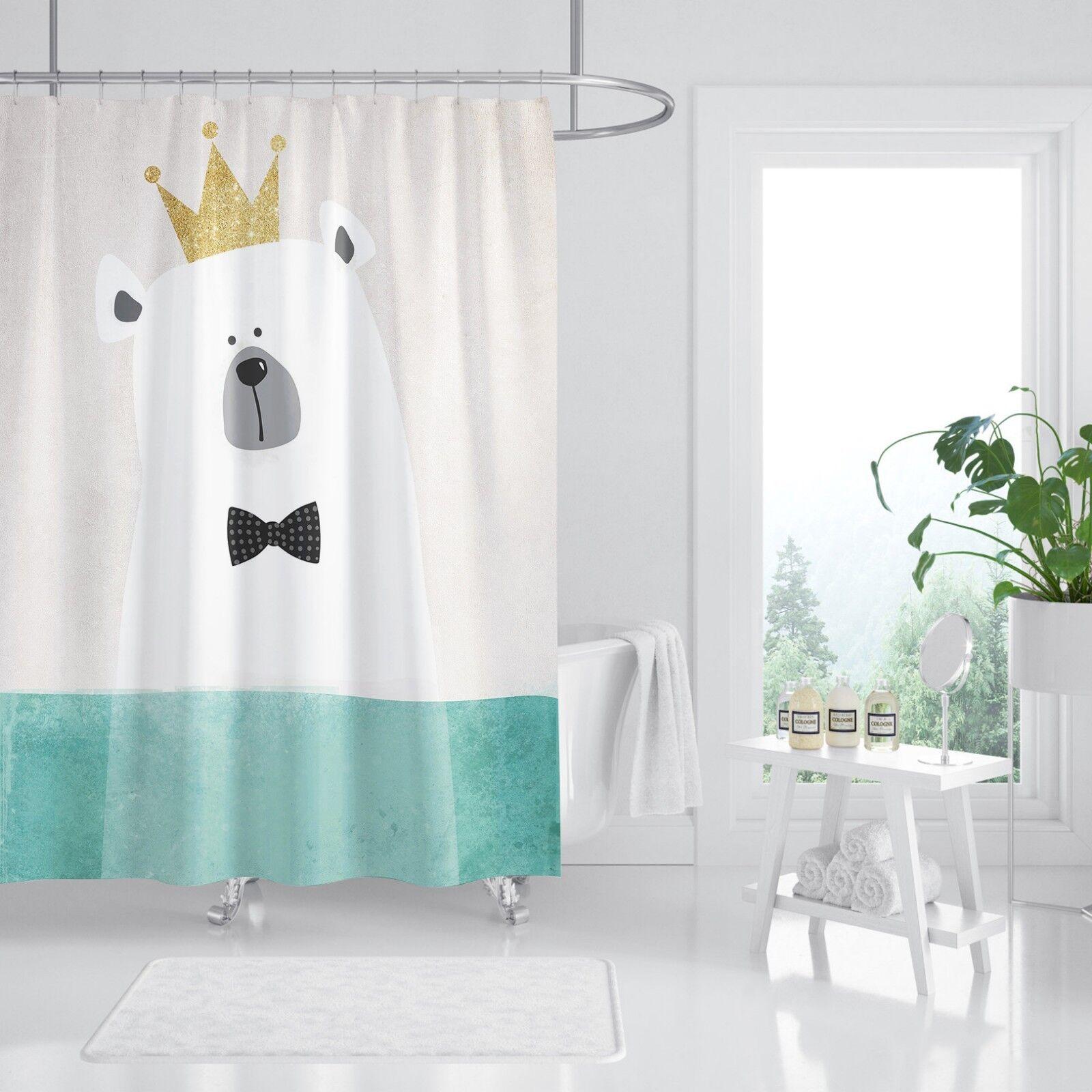 3D COURONNE Bear 45 Rideau de Douche Imperméable Fibre Salle de Bain Home Windows Toilette