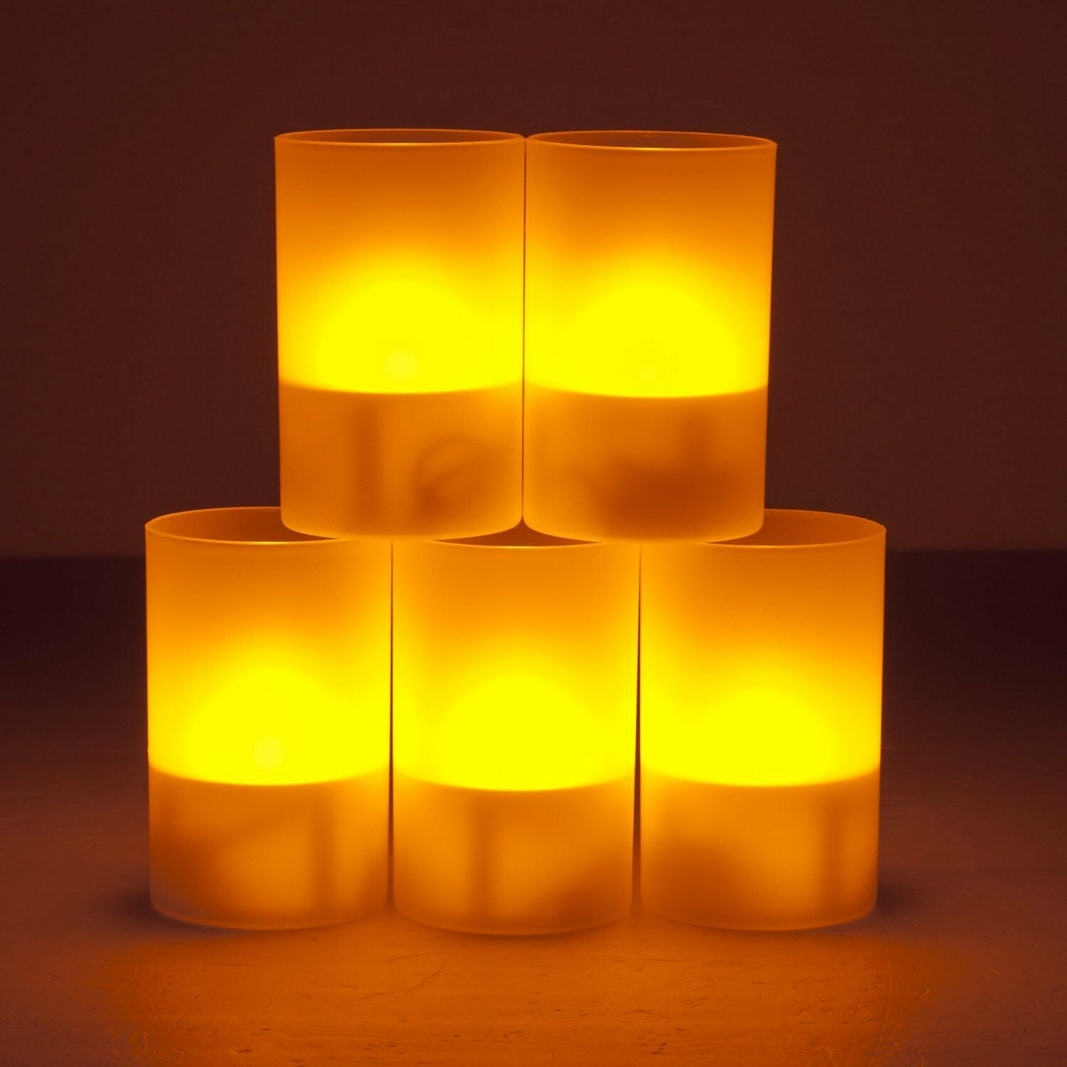 weanas 5pcs solar power led light yellow tea cup candles flickering tealights ebay. Black Bedroom Furniture Sets. Home Design Ideas