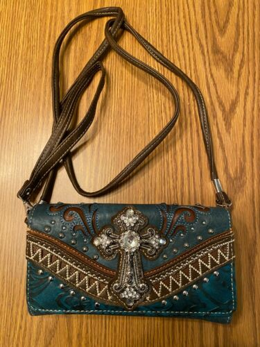 Details about  /CROSS /& RHINESTONES//STUDS /& CUTS-OUT CONCEALED CARRY HANDBAG w//WALLET  TURQUOISE