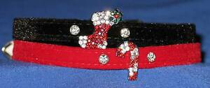 Velvet-Christmas-Dog-Puppy-Collars-w-Crystal-Stocking-amp-Cane-Charms-25cm-40cm