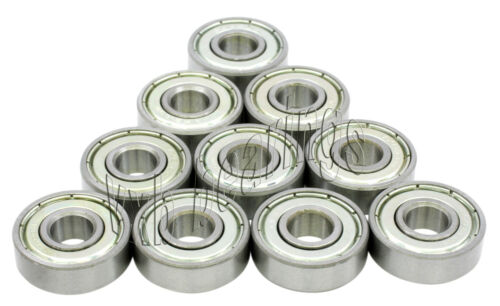 "Lot of 10 Bearings R2ZZ Ball Bearing 1//8/"" x 3//8/"" R2ZZ .125 ID inch Steel Axle"