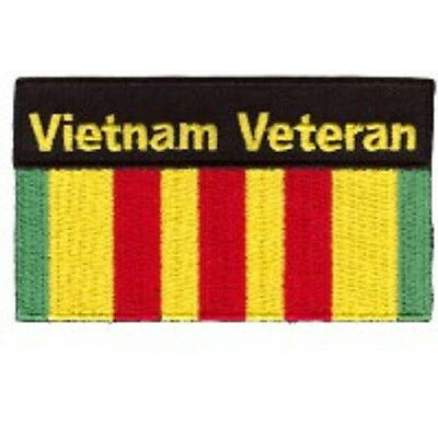 VIETNAM VETERAN WITH RIBBON EMBROIDERED BIKER  PATCH