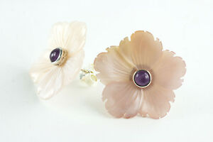 New-Handcrafted-Natural-Pink-Shell-Flower-with-Amethyst-Sterling-Silver-Earrings