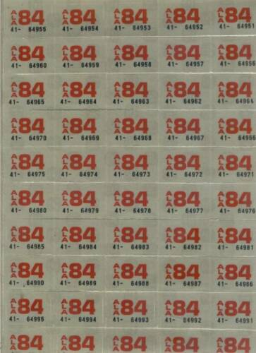 1984 ALABAMA~50~MINT UNUSED YEAR STICKERS~10 CENT EACH