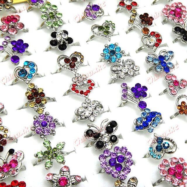 Charms 50pcs Full Rhinestones Silver P Fashion Women Rings Wholesale Jewelry