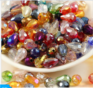 wholese-20-30-50pcs-AB-Teardrop-Shape-Tear-Drop-Glass-Faceted-Loose-Crystal-Bead