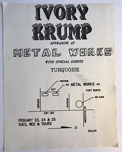 Dallas TX 1980's Band Flyer Advertisement Ivory Krump Turquoise At Metal Works