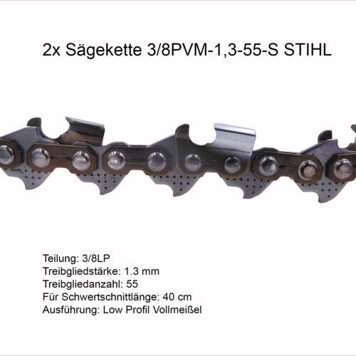 2 Stück Stihl Picco Super PS 3//8P 1.3mm 55 TG Sägekette Vollmeissel