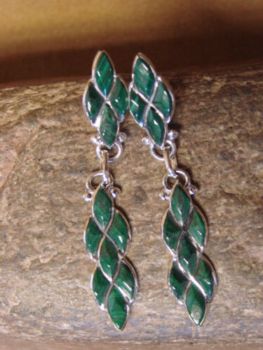 L Chavez Zuni Indian Jewelry Sterling Silver Malachite Dangle Earrings