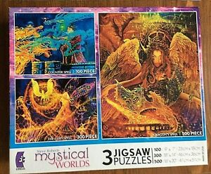 Ceaco-3-in-1-Puzzle-Mystical-Worlds-500-300-and-100-Pieces-by-Steve-Roberts