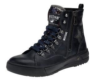 cheaper d60d9 64102 Details zu Neu Mustang Damen Stiefeletten Boots Stiefel Schnürboots  Gefüttert Gr.37-40 Blau