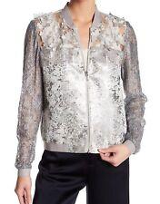T Tahari Womens Fatima Purple Velvet Floral Print Bomber Jacket Coat L BHFO 0367