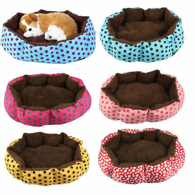 Small Polka Dot Pet Dog Puppy Cat Soft Warm Cozy Bed House Nest Mat Pad Cushion
