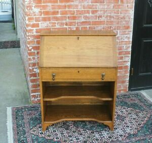 English-Antique-Oak-Art-amp-Craft-Front-Drop-Desk