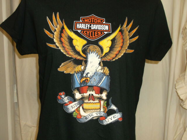 "Harley-davidson women's Black ""eagle tattoo"" missy tee t-shirt runs big"