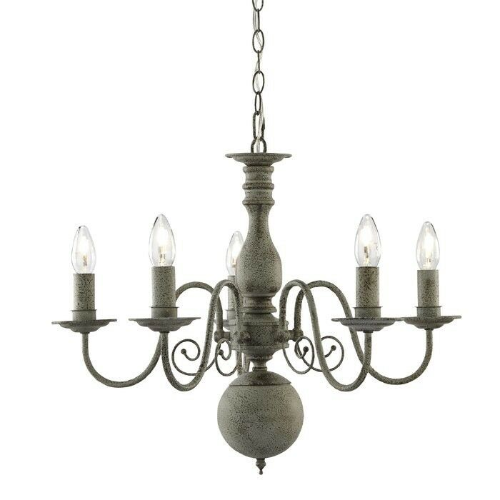Steel 5 Light Fitting With Texturot grau Finish NEW