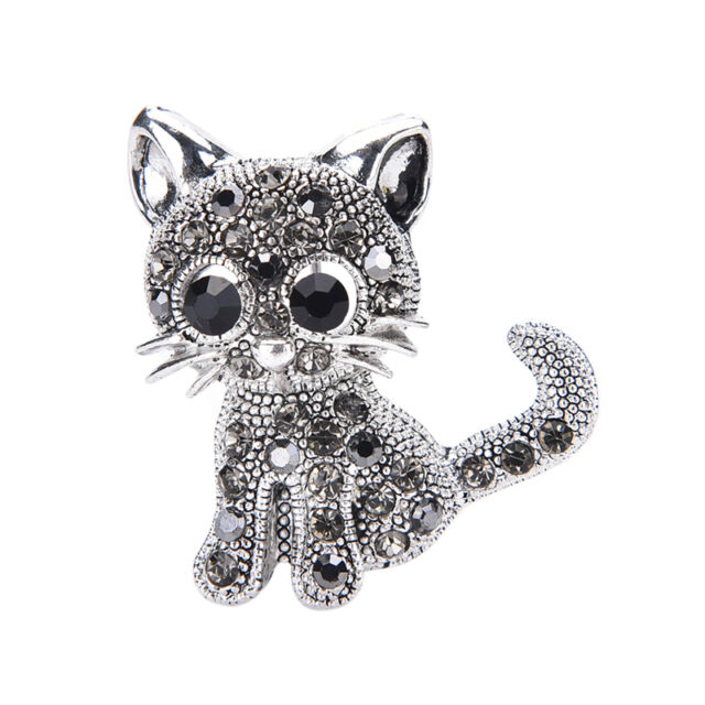Cute Little Cat Brooches Pin Antique Silver Plated Coat Shirt Clips Fashion  R