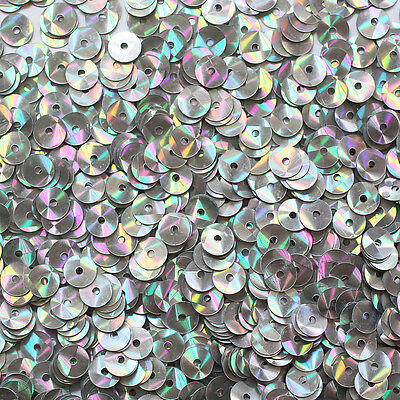 Dapper 5mm Flat Sequin Paillettes ~ Silver Prism Multi Reflective Metallic ~made In Usa Pure Witheid