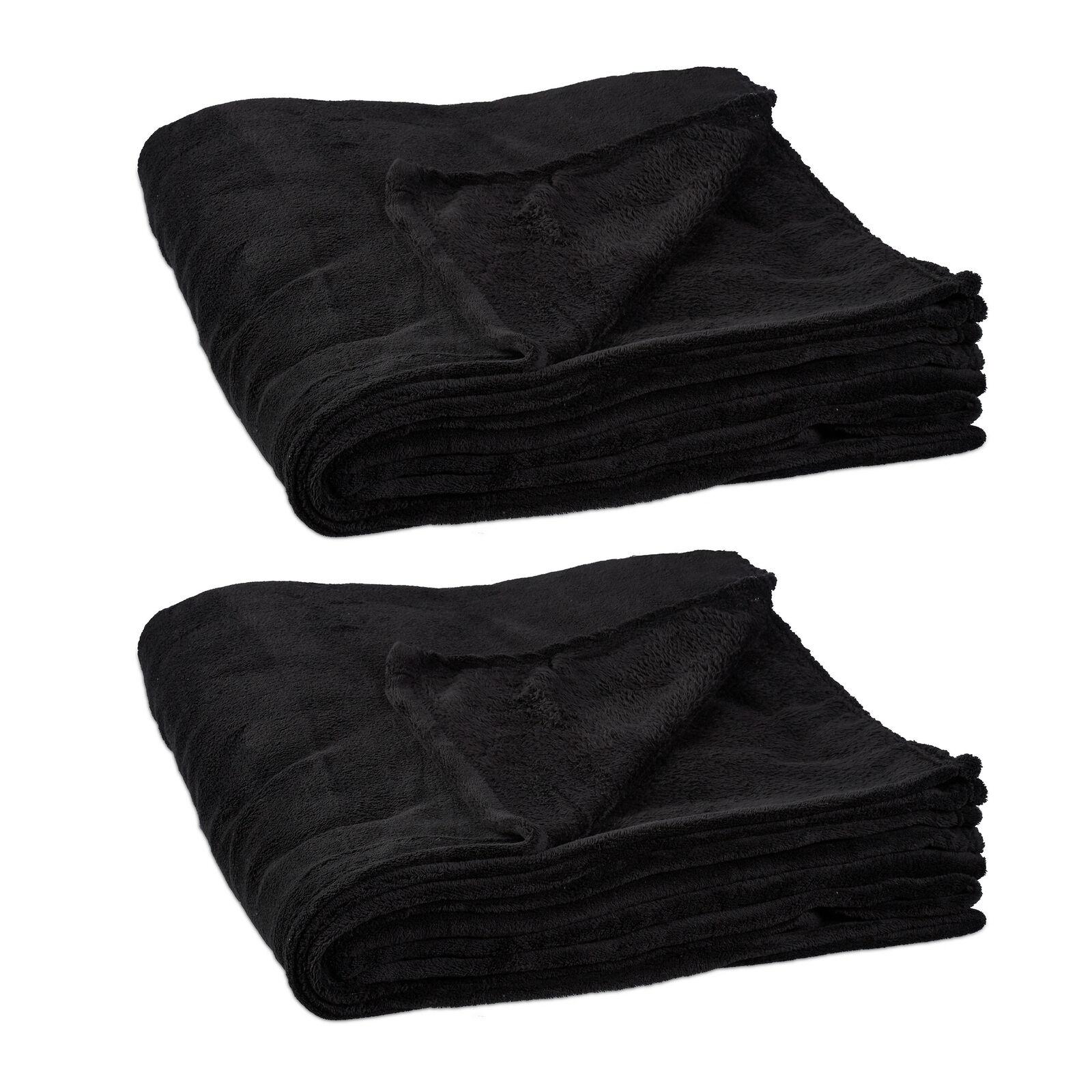 2 x Kuscheldecke 200 x 220 cm, extragroße Fleecedecke in Schwarz, aus Polyester