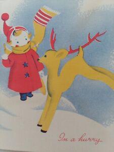 1950s-Vtg-GIRL-REINDEER-Canada-Artist-Blockprint-Studio-CHRISTMAS-GREETING-CARD