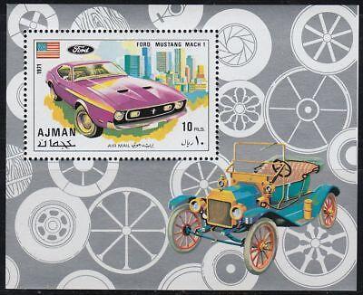 Briefmarken Vereinigte Arabische Emirate Gehorsam Ajman 1971 ** Bl.291 A Sportautos Roadster Autos Cars Ford Mustang Mach 1 Seien Sie In Geldangelegenheiten Schlau
