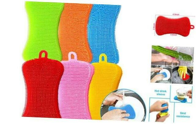 1*Kitchen Silicone Scrubber Sponge Brush Dish Pot Pan Washing Cleaning Tools Kit