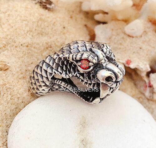 Handmade Cobra Boa Snake Red Eyes Solid 925 Sterling Silver Men/'s Woman/'s Ring