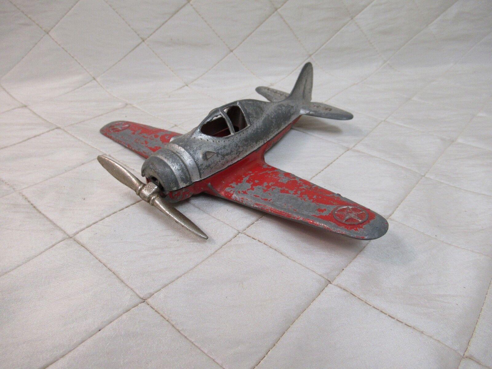 Vintage Antique Hubley Kiddie Toy Plane US Army Red  Diecast 6 inch Airplane