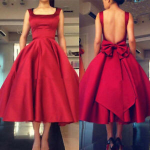 Backless Tea Length Dress