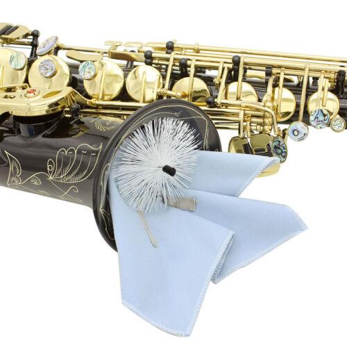 Saxophone Sax Reinigungswerkzeug Durchziehen Wischtuch Bürste Blau