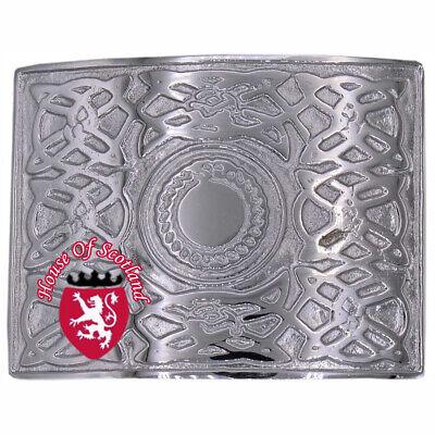Cosciente Hs Uomo Highland Fibbia Per Cintura Da Kilt Celtic Knot Finitura Cromata
