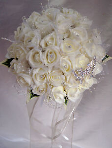 Wedding-bouquet-Brides-Posy-ivory-roses-with-tulle-pearl-loops-amp-butterfly