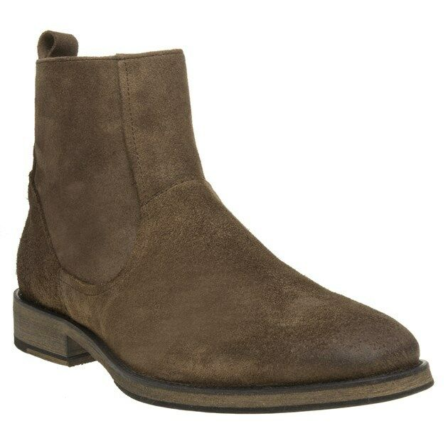 New Mens SOLE Taupe Sparta Suede Stiefel Zip