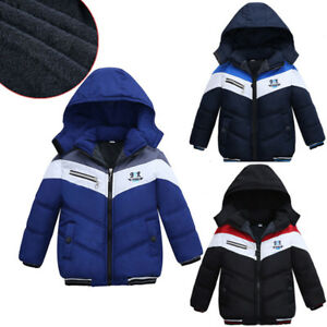 a7234277b0d9 Kid Infant Baby Boy Thick Coat Cotton Padded Warm Jacket Hooded ...