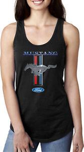 Buy Cool Shirts Ladies Ford Mustang Tank Top Stripe Ideal Racerback Tanktop