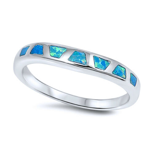 Details about  /3mm Sterling Silver Simulated Blue Opal Band Ladies Vintage Style Ring