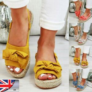 Womens-Peep-Toe-Espadrilles-Ankle-Strap-Flat-Sandals-Comfy-Slip-on-Shoes-Size-WA