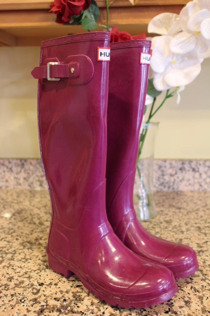 Hunter Original Tall Gloss Purple Rainboots Size 5M 6F (bota1400