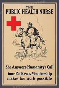 Details about 1917 Public Health Nurse - WWI Red Cross Membership Poster -  16x24