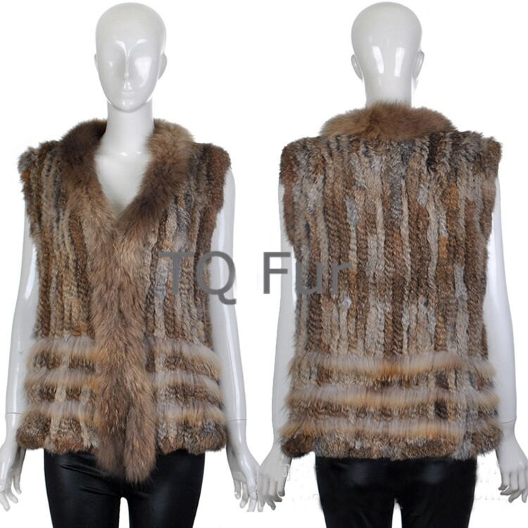 Classic Real Fashion Knitted Rabbit Fur Vest Gilet Gilet Gilet with Raccoon Fur Collar Women ecc122