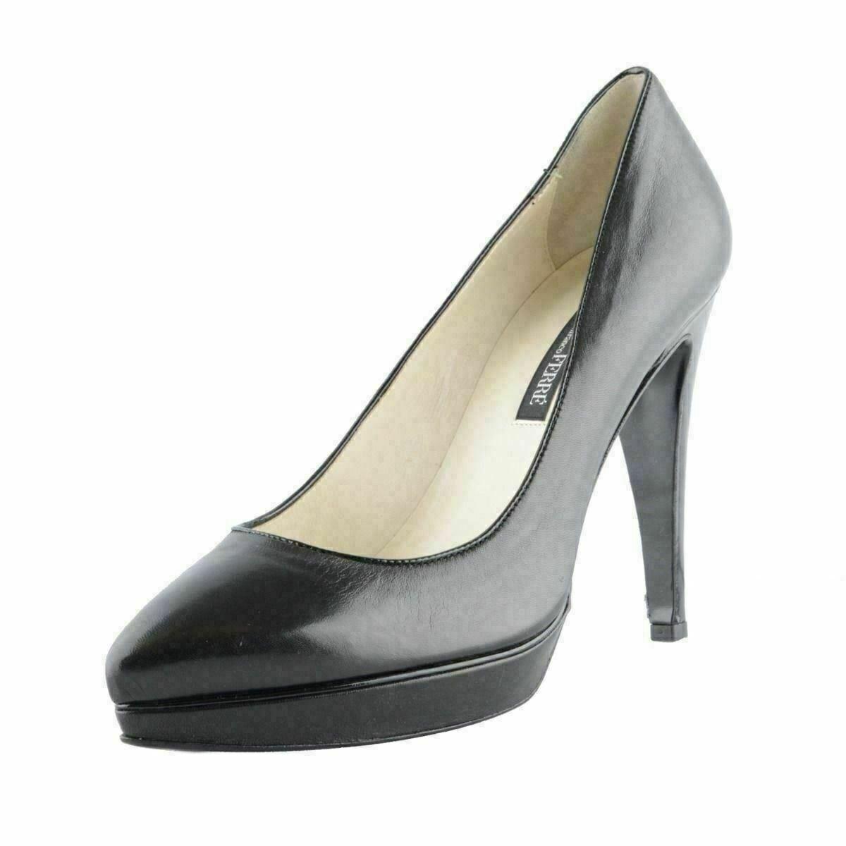 Gianfranco Ferre femmes Cuir noir Plateforme Haut Talon chaussures Plates Us 6