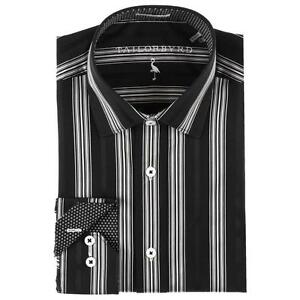 NWT! TAILORBYRD Mens Classic Fit Dress Shirt BLACK WHITE STRIPE Sz ...