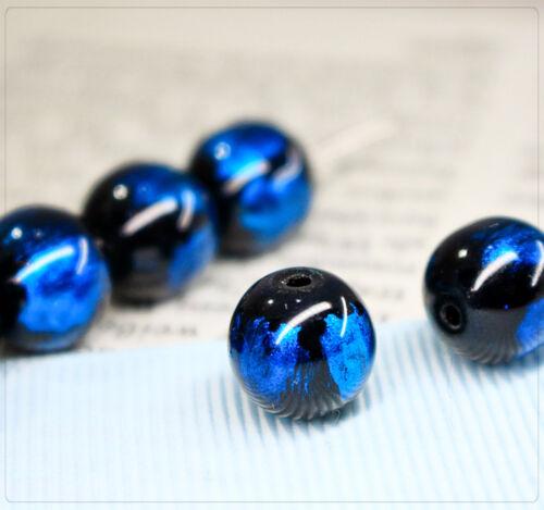 granos de la joyería DIY Blau Resumen 10 mm bola de cristal 10 x granos pintados