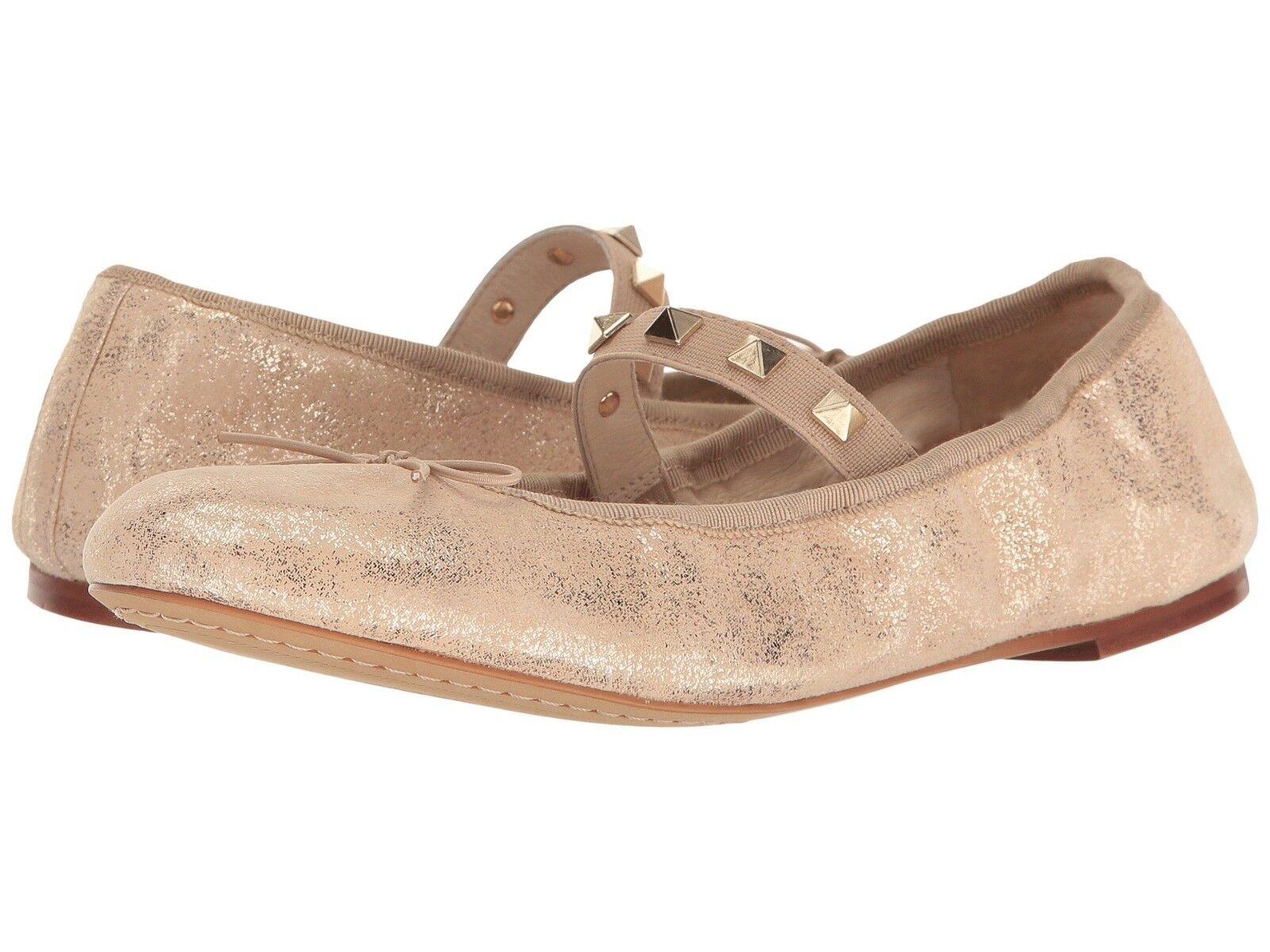 Vince Camuto Prilla Metallic Studded Ballet Flats, Größes 6-9 Metal Beige