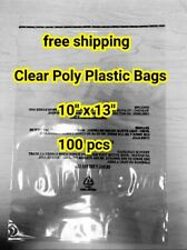 100 10x13 Premium Suffocation Warning Clear Plastic Self Seal Poly Bags 15 Mil
