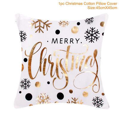 Gold Glitter Merry Christmas Pillowcase Xmas Sofa Throw Cushion Cover Home Decor