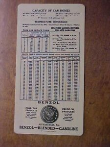 PA Pittsburgh Benzol Blended Gas Gasoline Crude Dauler Oil Co Celluloid Chart