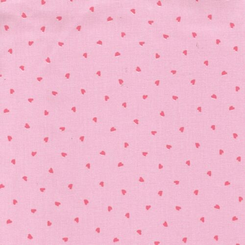 100/% Cotton Fabric Dressmaking Quilting Sweet Hearts Classics Print Pink