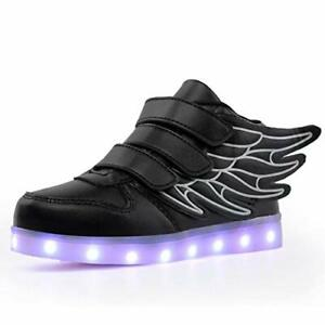 QTMS Boys Girls Breathable LED Light Up Shoes Flashing, Wingblack, Size 12.0 LE2